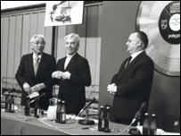 Bernstein e Karajan alla presentazione del Compact Disc